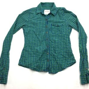 Abercrombie Girl's Blue Plaid Collared Shirt L